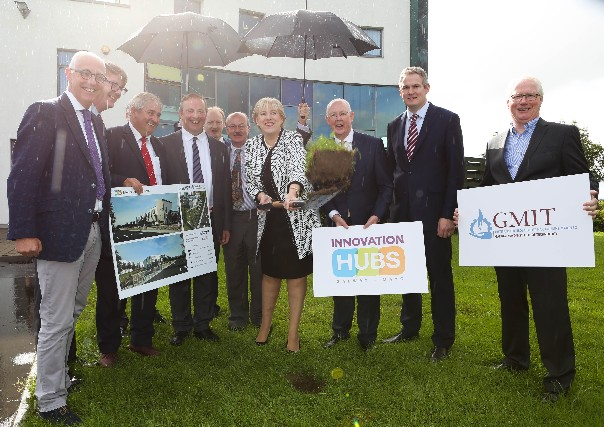 MINISTER HEATHER HUMPHREYS TURNS THE SOD MARKING COMMENCEMENT OF GMIT IHUB EXTENSION WORK