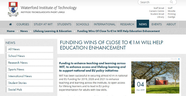 Funding wins of close to €1m will help education enhancement at WIT