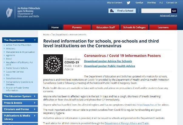 Education.ie: Revised information for schools, pre-schools and third level institutions on the Coronavirus